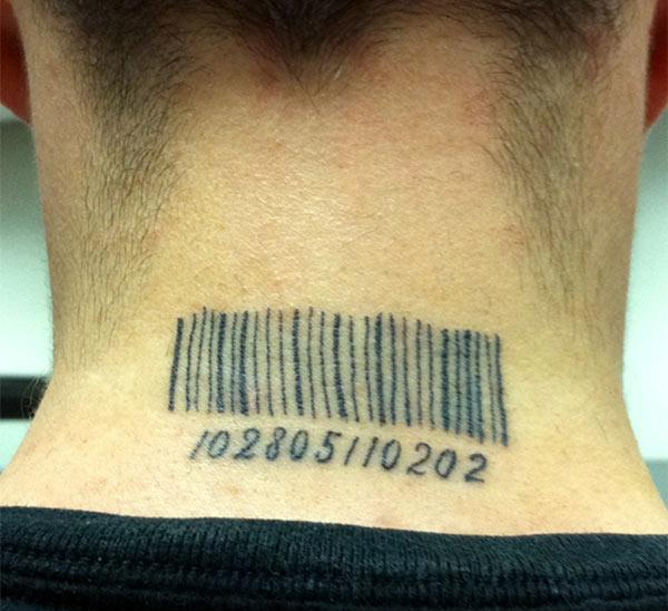 Barcode tattoo on the back of the neck make a man look cute