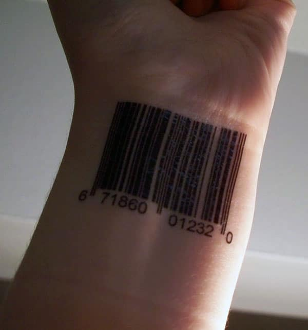 Barcode tattoo on the lower arm make a man appear stunning