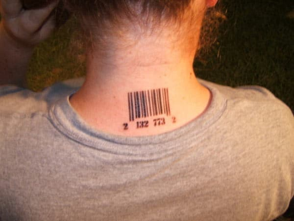 Barcode tattoo on the back neck brings the captivating look