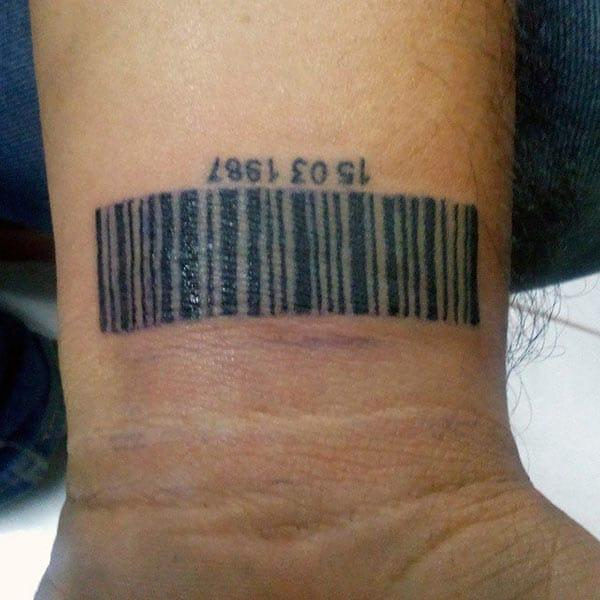 Barcode tattoo on the lower arm with black ink design makes a girl appear charming