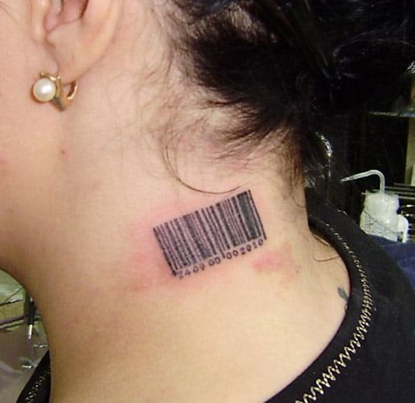 Barcode tattoo on the side neck make a girl look elegant