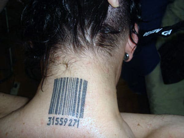Barcode tattoo at the back neck brings the captivating look