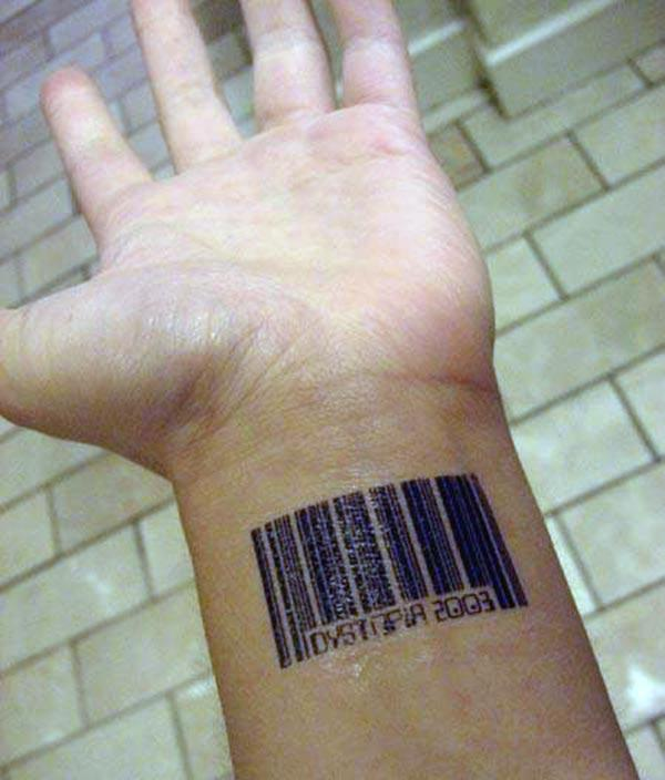 Barcode tattoo on the hand makes a man look stylish