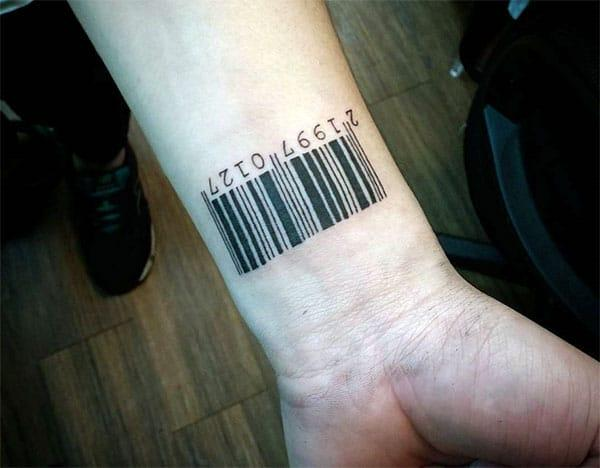 The bright ink design on the Barcode tattoo on the wrist make a man look majestic