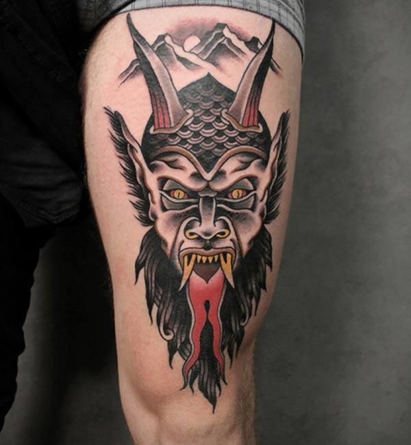 Devil Tattoo on the upper thigh make a man look gallant
