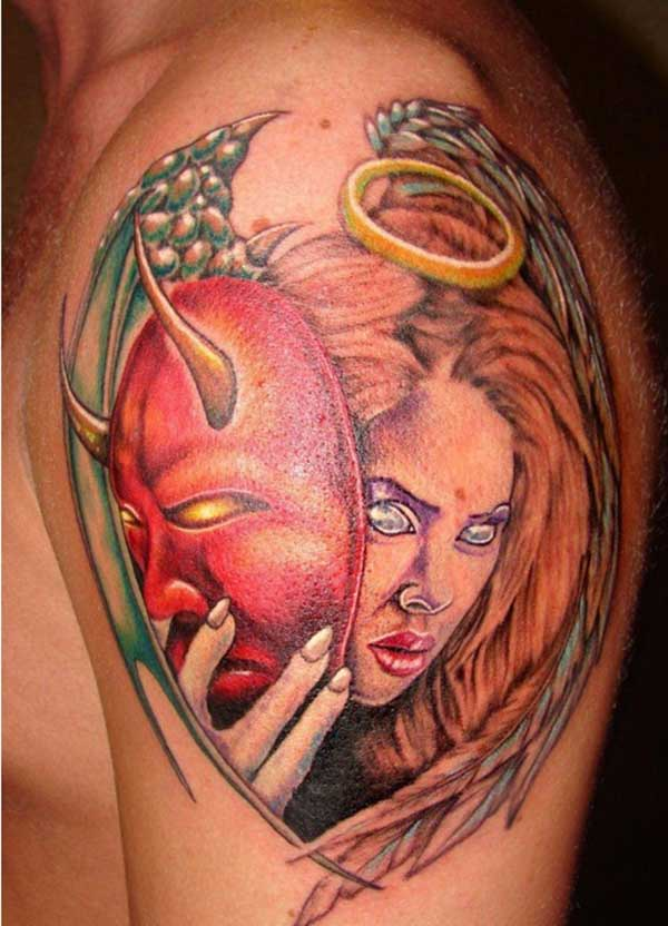 The Devil Tattoo on the upper left arm with a woman face make a man look admirable
