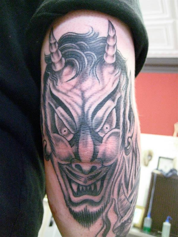 The Devil Tattoo on the back upper arm make a man have a majestic appearance