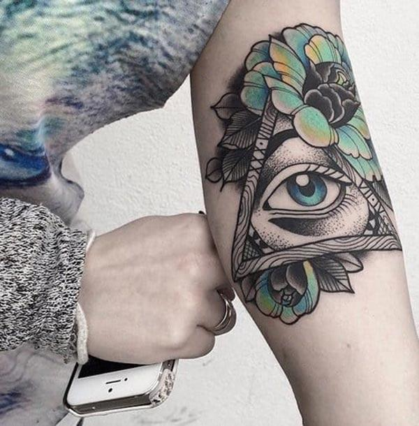 Eye of God Tattoo on the lower arm makes a man look gallant