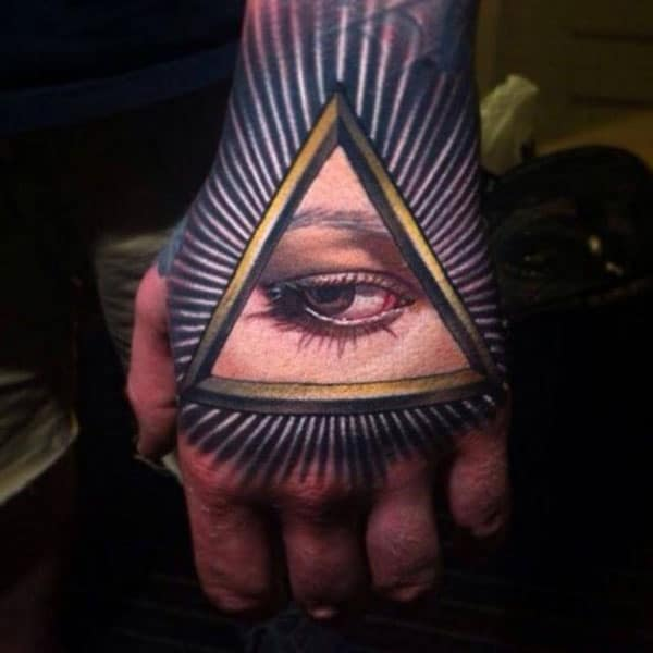 Eye of God Tattoo on the hand makes a man look stylish