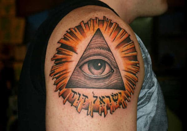 Men makes Eye of God Tattoo on their shoulder to flaunt it