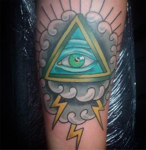 Eye of God Tattoo for men with a blue ink design makes them look marvelous