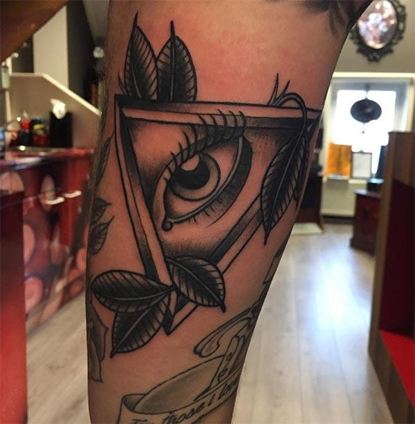 Eye of God Tattoo on the upper arm makes a man look gallant