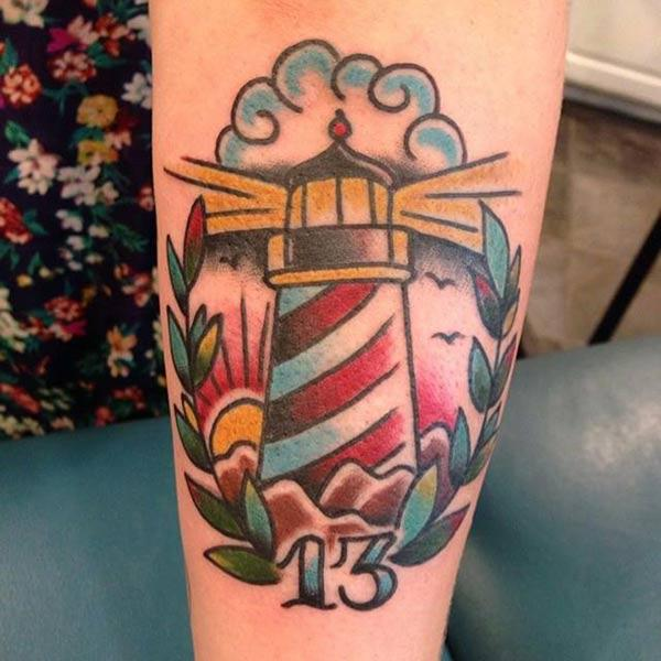 Lighthouse Tattoo on the lower arm brings the astonishing look