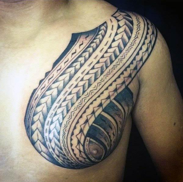 Enchanting black grey tribal chest Polynesian tattoo ideas for Men