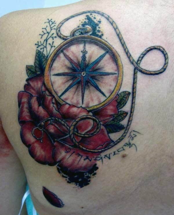 breathtaking compass on rose tattoo design on back shoulder for ladies