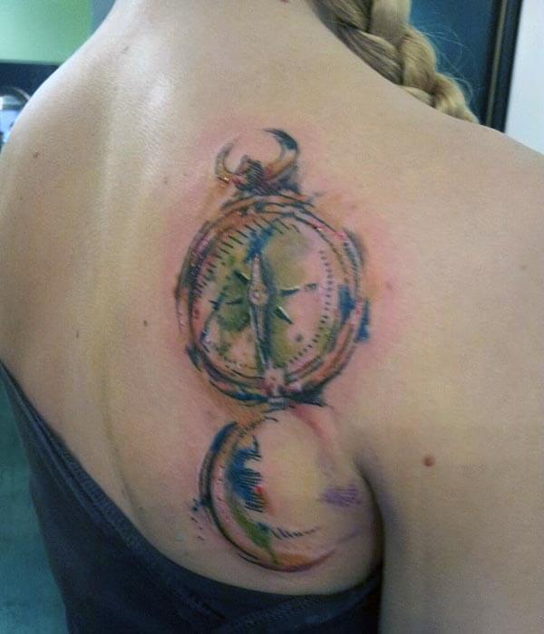 aesthetic watercolor vintage compass design on shoulder back for girls