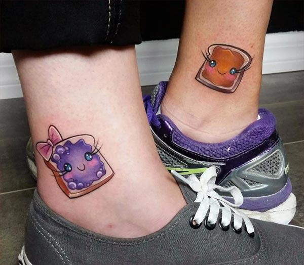 This Best Friend tattoo design with a colorful ink makes the foot look fabulous