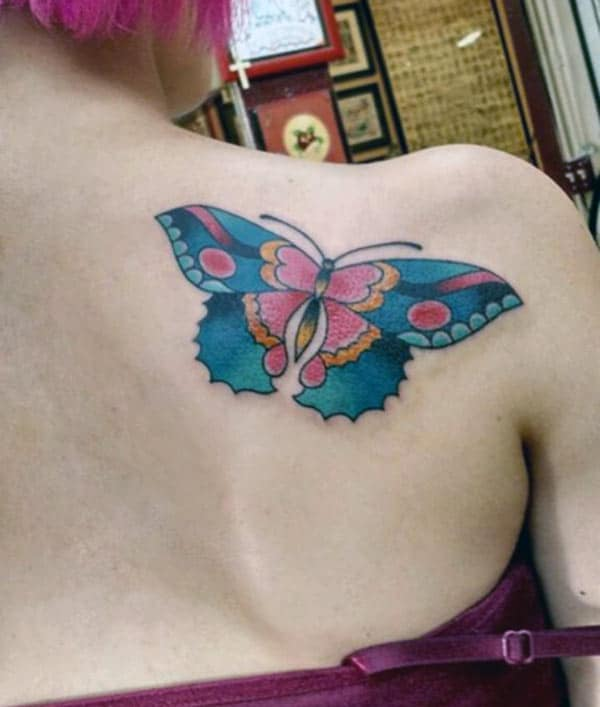 Butterfly tattoo on the back shoulder makes a women look attractive