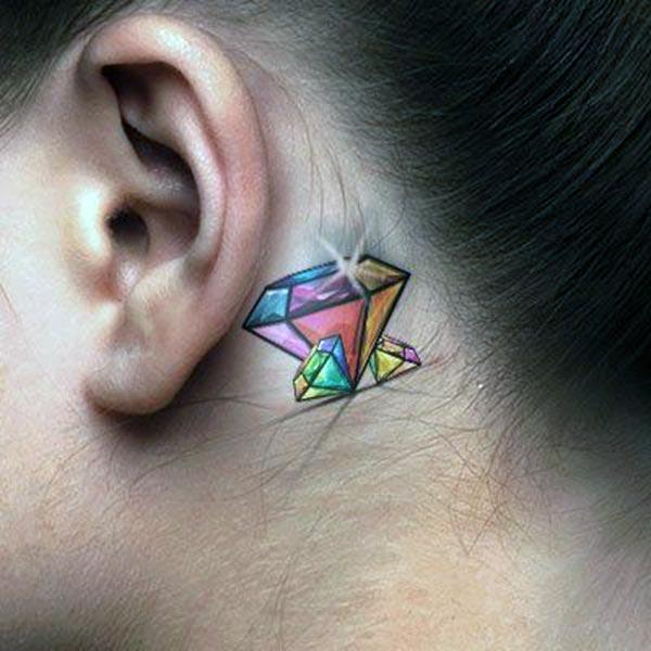 Tattoo diamonds behind the ear look at feminist