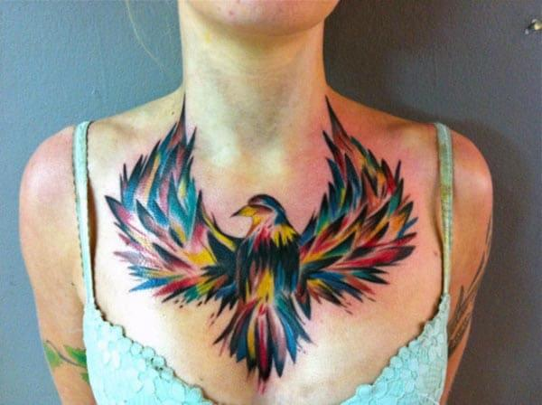 Eagle Tattoo on the upper chest makes a woman look captivating