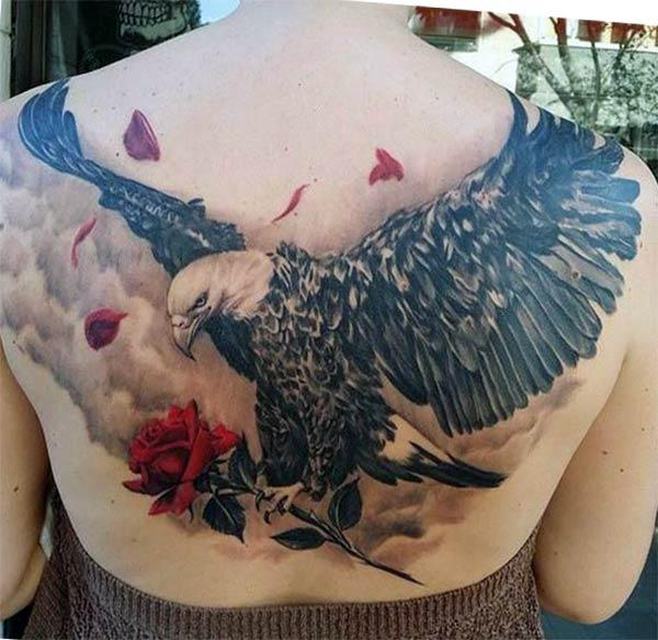 Eagle tattoo with a blue ink design ink make them look attractive