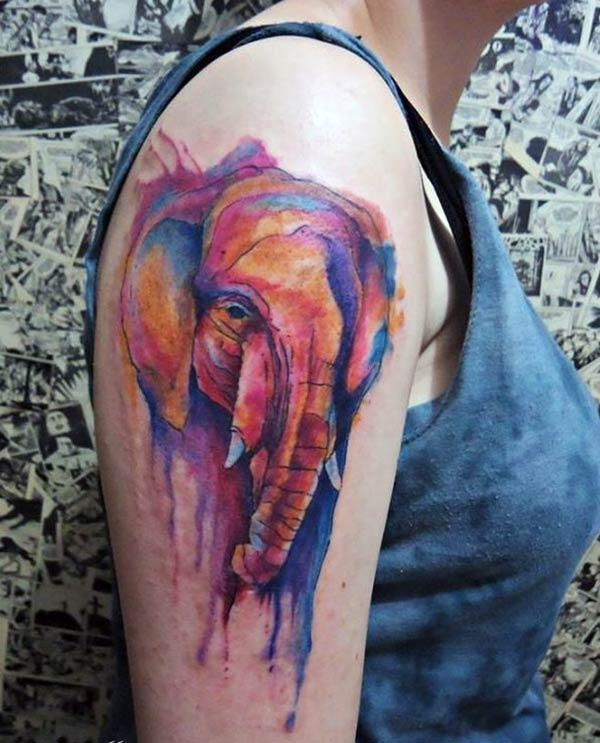 Elephant tattoo on the shoulder make them look comely