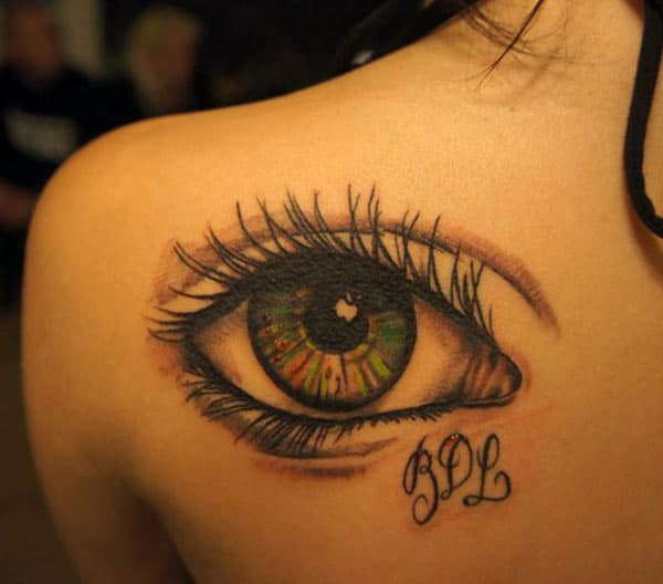 Eye tattoo with a black ink design ink make them look attractive