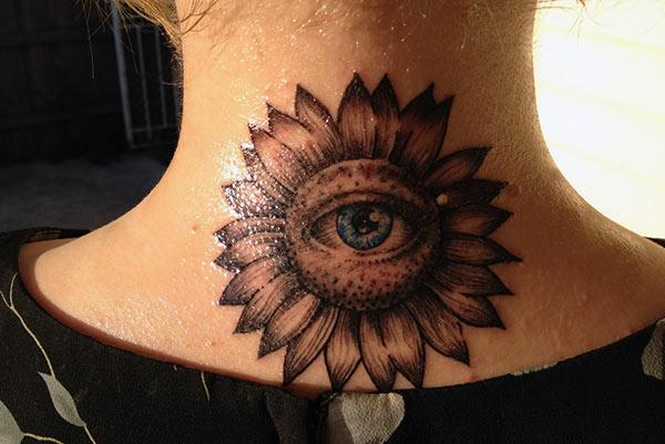 Eye tattoo for Women with colorful design ink; makes them look charming