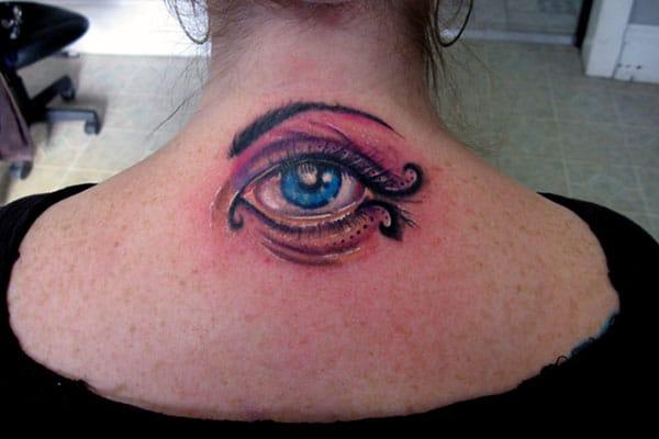 Eye tattoo with black and blue ink design make them look lovely.
