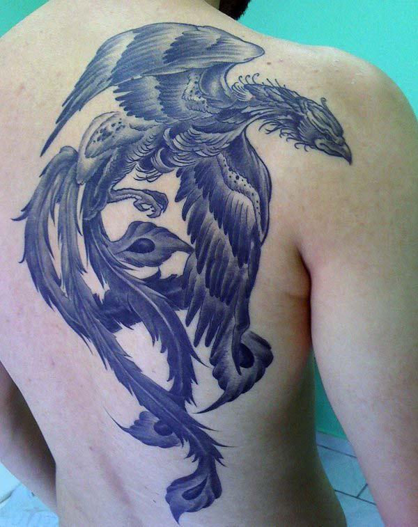Phoenix tattoo leh naqshad madow ee naqshadeynta wuxuu ka dhigayaa nin u ekaado cute