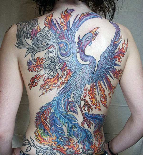 The blue ink mix design Phoenix tattoo on the back of the neck make girls attractive