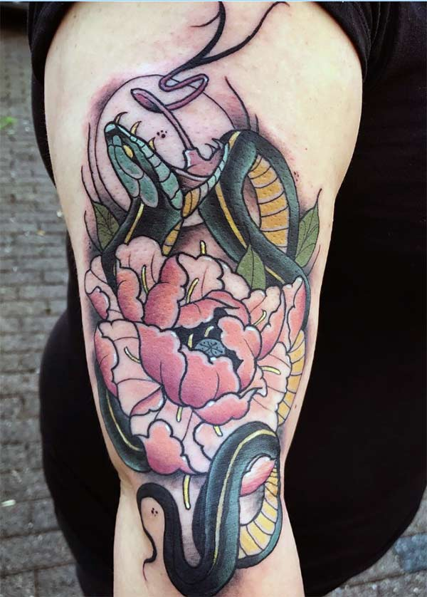 The snake tattoo on the arm with a black ink design make a man look cool.