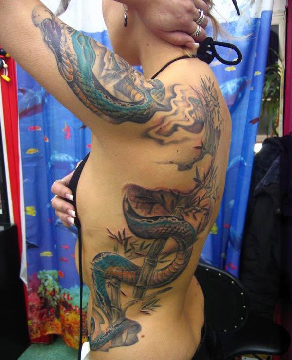 Змія татуювання на боковій поверхні приносить приємний вигляд