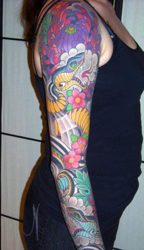 The Snake Tattoo on the full arm makes girls have Stunning look