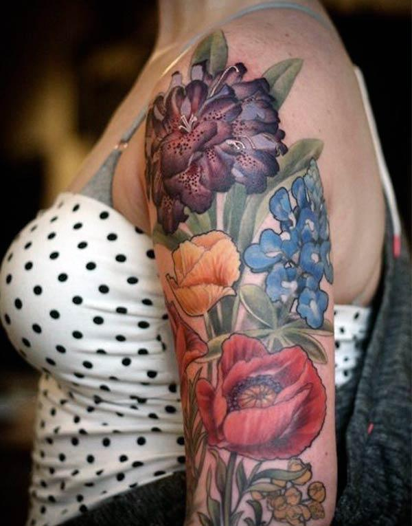 Flower tattoo on the arm gives the captive look in girls