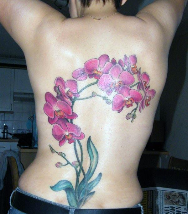 The pink ink design of the flower tattoo on the back, make girls have splendid look