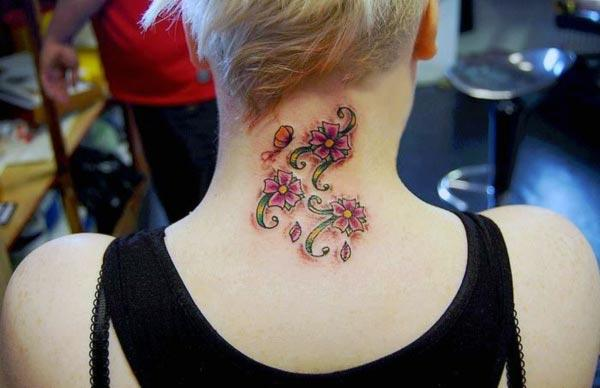 Flower tattoo on the neck brings the feminist look