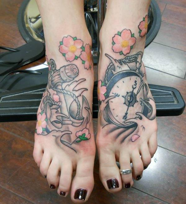 Foot Tattoo for girls with ink design brings their classy