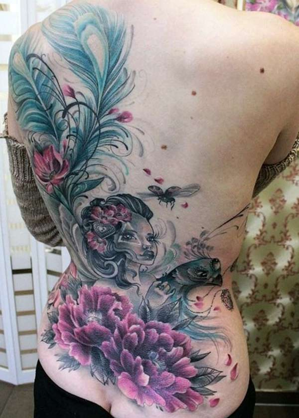Girl Tattoo on the back brings the captivating look