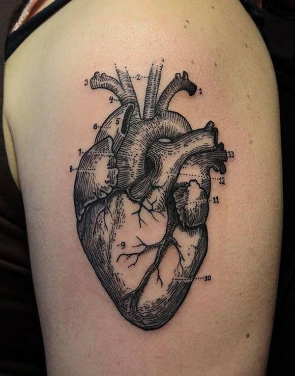 Heart Tattoo on the upper arm with dark ink design makes a girl look gallant