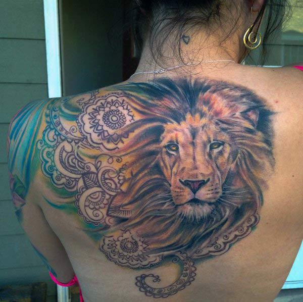Lion Tattoo for Women on the back make them riveting