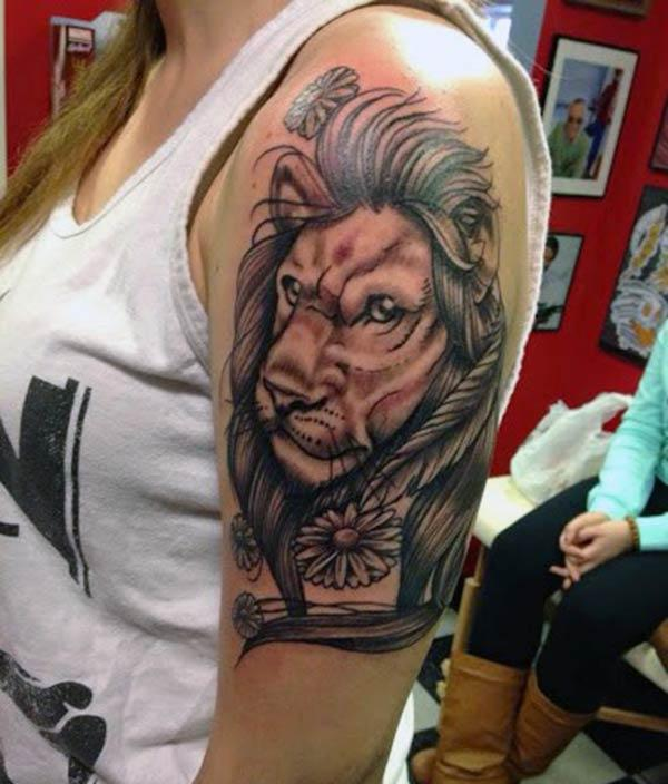Lion Tattoo for Women with black ink design make them look dazzling