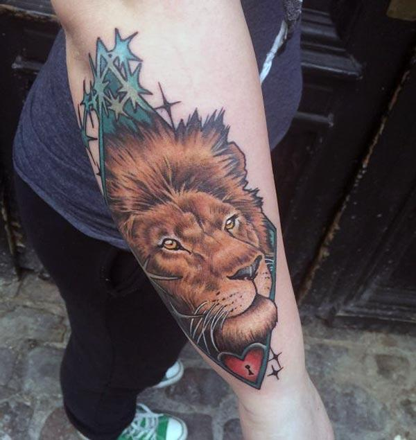Lion Tattoo for Women with a brown ink design gives them a foxy look