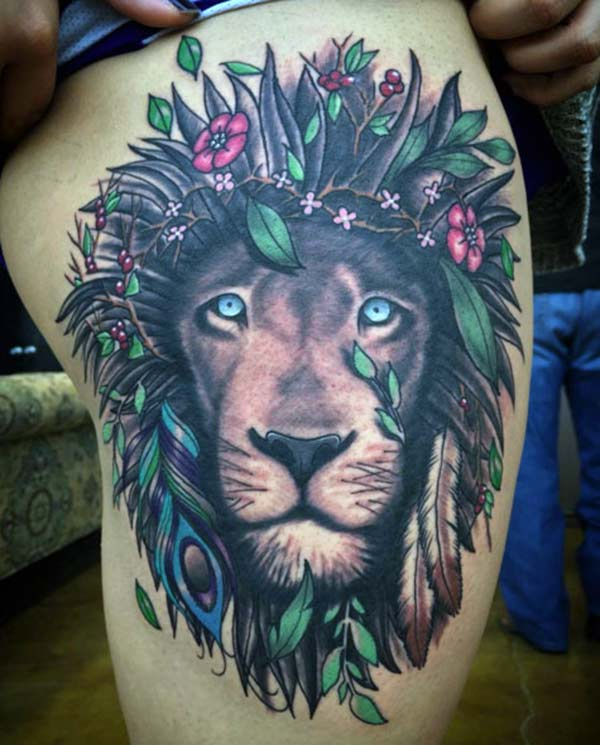 Lion Tattoo for Women with a black ink circular design makes them beguiling