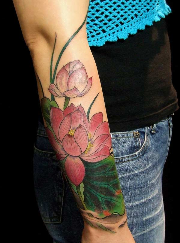 Lotus Flower tattoo on the wrist makes a girl appear charming