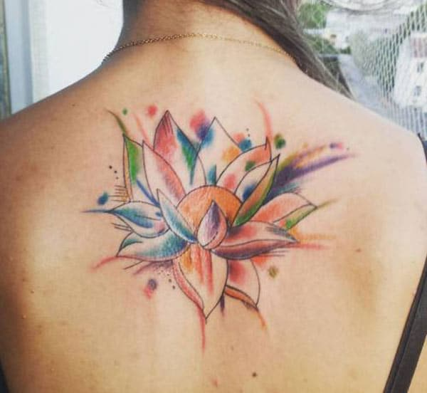 Lotus Flower tattoo on the back brings the captivating look