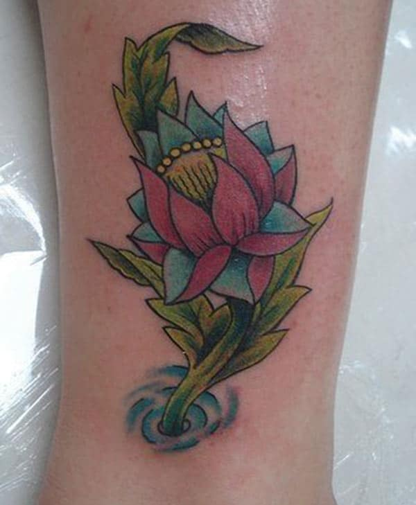Makes a divine Lotus Flower tattoo on foot to flaunt it