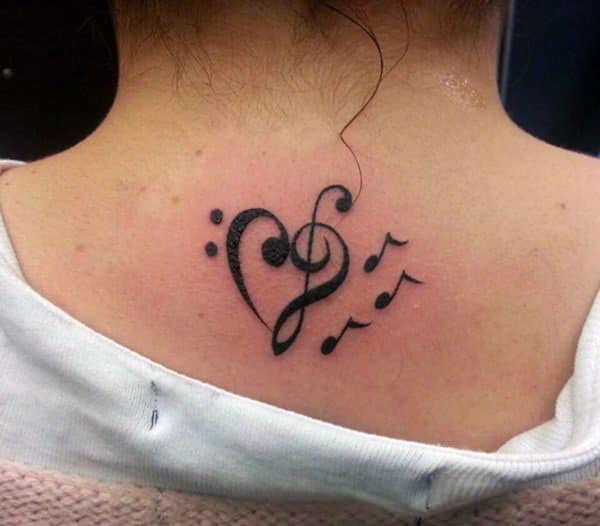 The black ink design Music Tattoo on the back of the neck make girls attractive