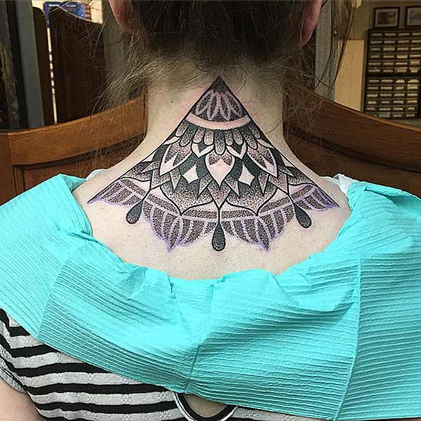 Neck tattoo with a black ink brings the captivating look