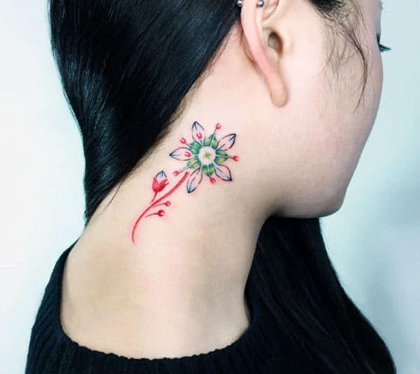 The Neck tattoo with a pink ink, flower design, make girls have splendid look
